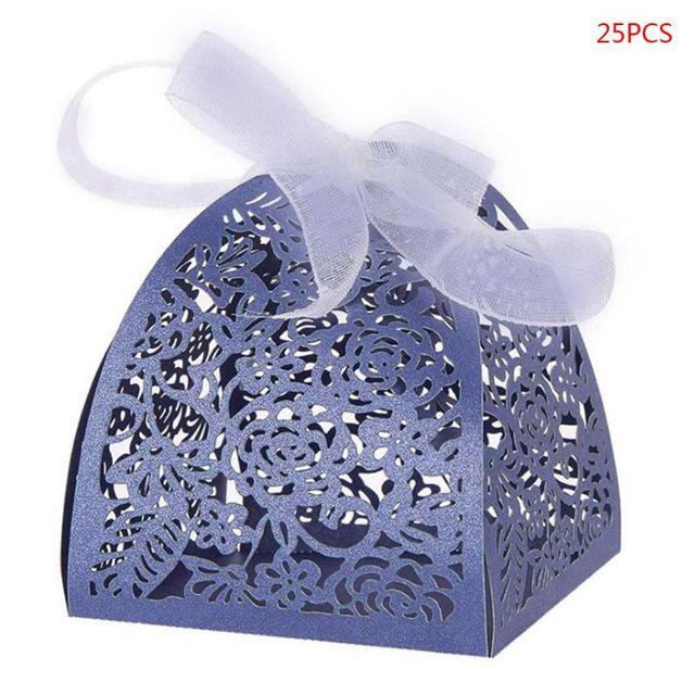 25pcs//set Rose Flower Laser Cut Hollow Favors Candy Boxes Wedding Party Supplies