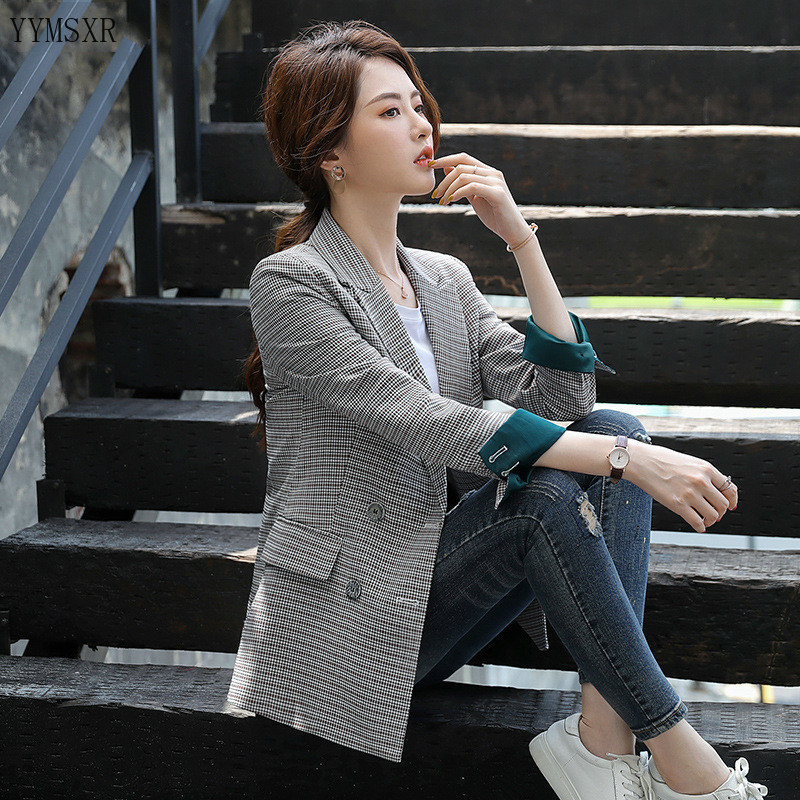 Feminine blazer 2020 new spring and autumn casual plaid slim ladies jacket small suit Women's Double Breasted Coat elegant