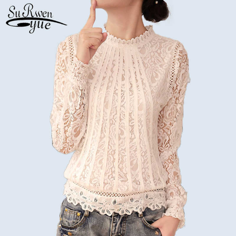 2019 New Summer Ladies White Blusas Women's Long Sleeve Chiffon Lace Crochet Tops Blouses Women Clothing Feminine Blouse 51C