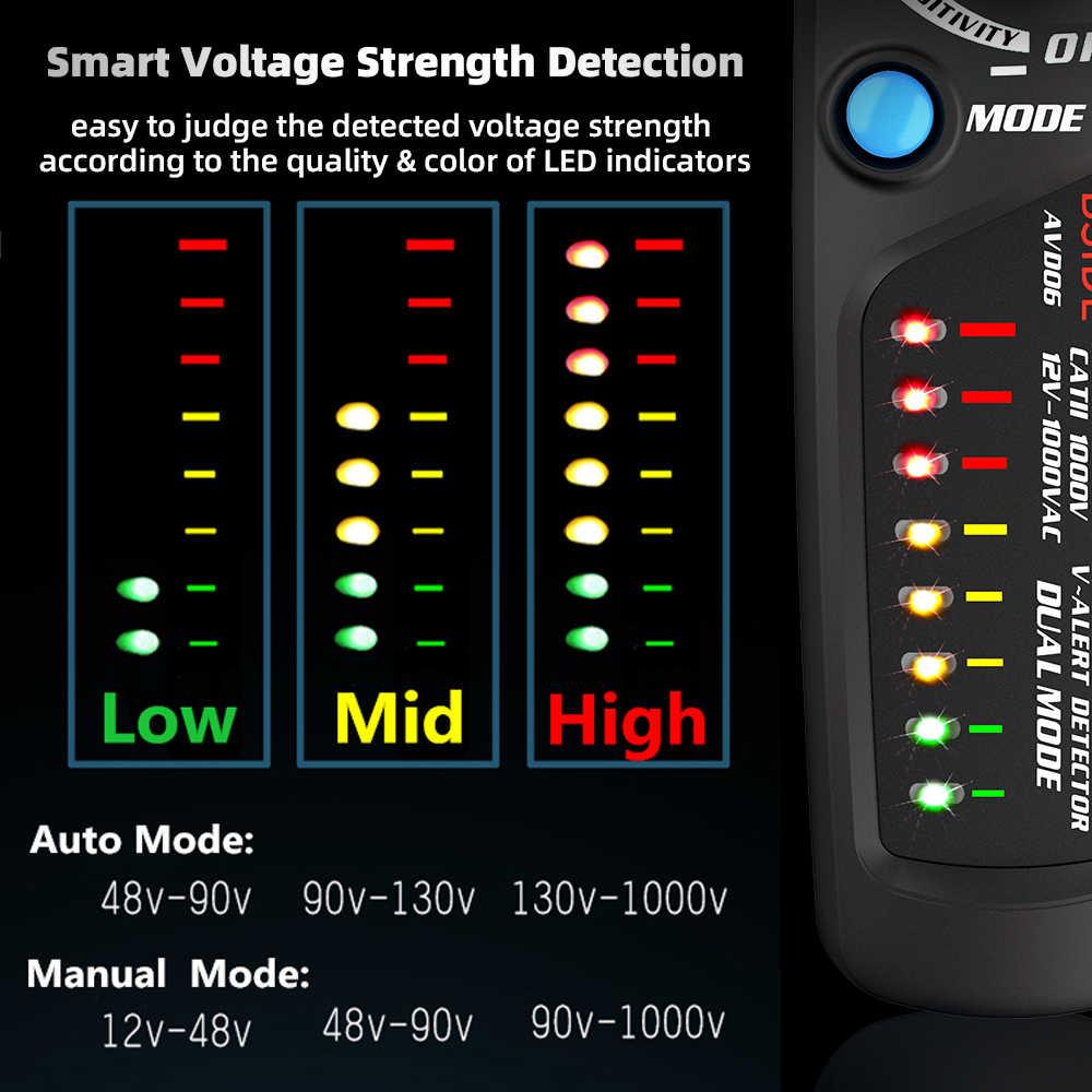 كاشف جهد عدم الاتصال مؤشر BSIDE AVD06 المهنة الذكية اختبار قلم رصاص لايف/المرحلة سلك نقطة توقف NCV اختبار الاستمرارية