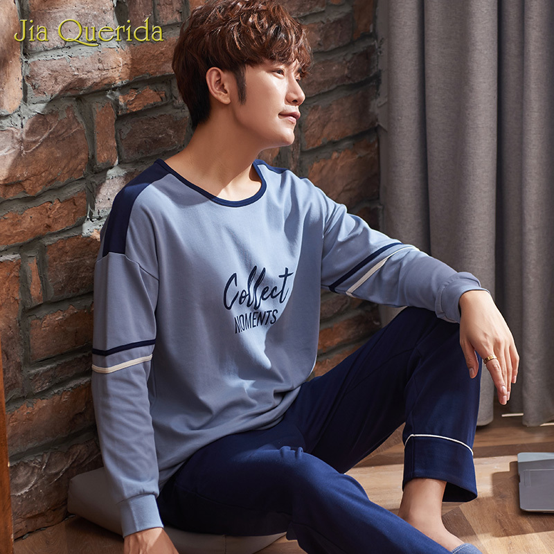 Fashion Style Homesuit Homeclothes Men Pajamas Pajamas For Men Sleepwear Plus Size Men Crew Neck Letter Printing Long Pants
