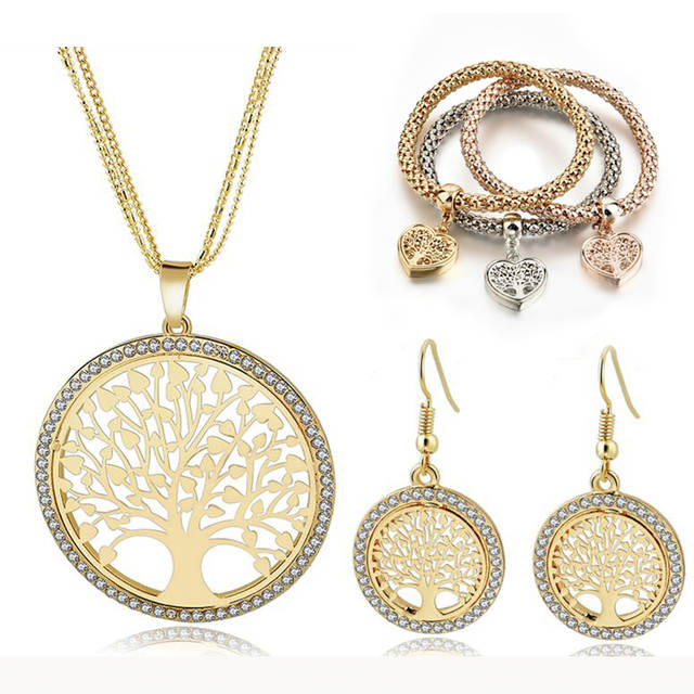 Us 7 74 40 Off Szelam Gold Tree Of Life Jewelry Set For Women Necklace Earrings Bracelets Wedding Crystal Jewellery Set160008 In