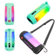 Mới Nhất Chống Cháy Nổ Loa Bluetooth Ốp Lưng Ốp Lưng Silicon Với Móc Neo Dây Cho Loa JBL Pulse 4 Loa Bluetooth Không Dây Túi