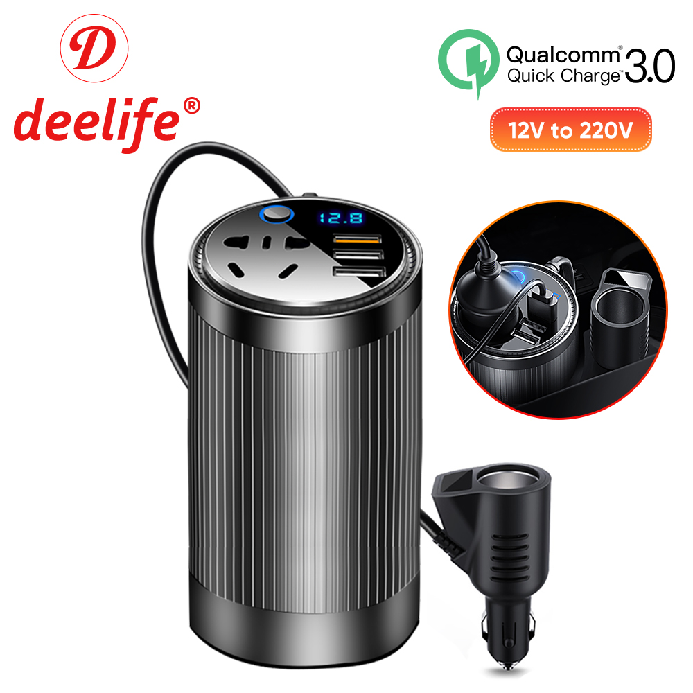 Deelife 200W Car Converter 12v to 220v Power Inverter DC 12 V   AC 220 V Auto Voltage Inversters for US AU EU Plug