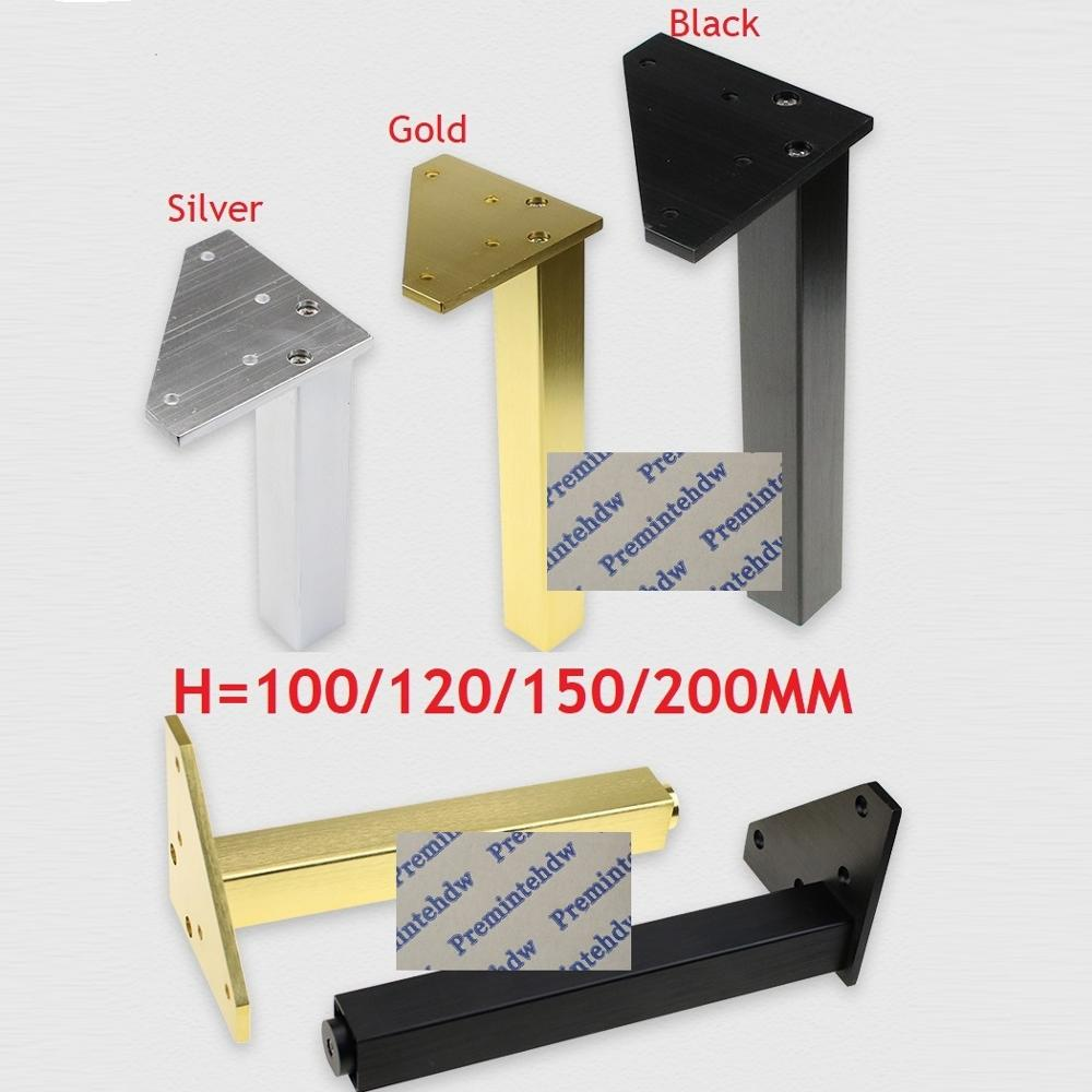 4Pcs Square Tube Aluminum Furniture Cupboard Bath Cabinet Bar Leg With Leveling Feet Gold Silver Matte Black