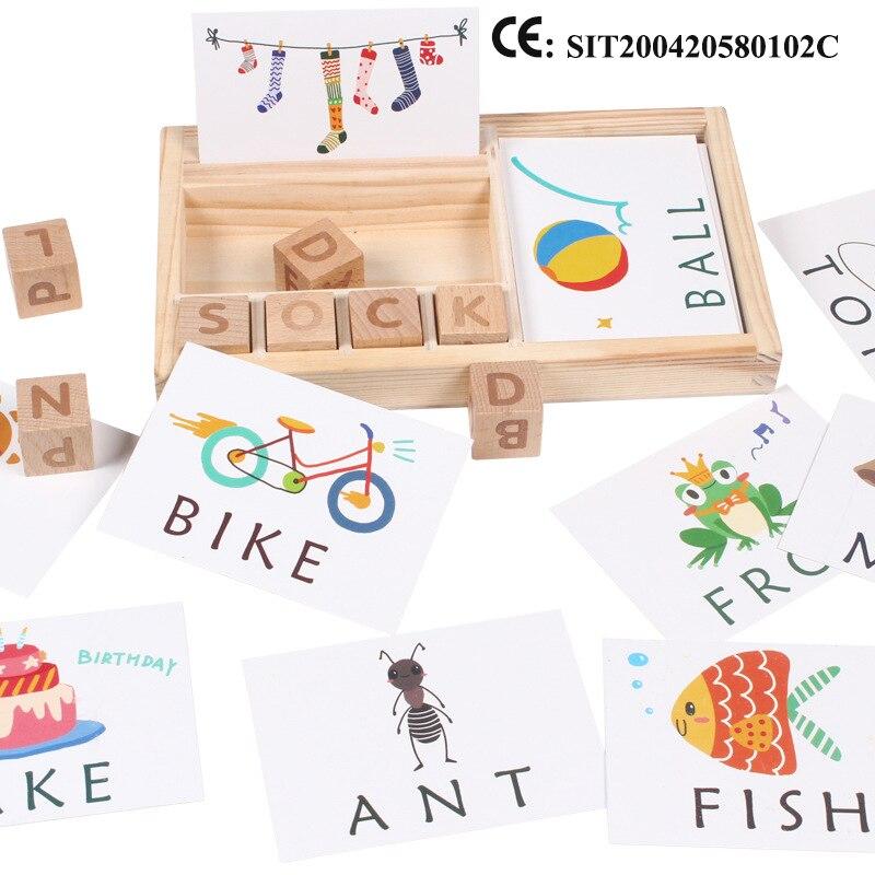 Novo jogo de palavras de ortografia de madeira crianças cedo brinquedos educativos para crianças aprendizagem brinquedos de madeira montessori educação puzzle brinquedos