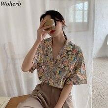 Chemisier à imprimé Floral pour femmes, vêtements coréens, ample, Vintage, simple boutonnage, Streetwear, en coton, 92486