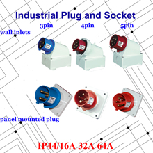 цена на Industrial Plug 16A 32A 63A 3 pole 4 pole 5 pole ip44 Panel Mounted Plug Wall Inlet 3pin 4pin 5pin 220V 380V 415V