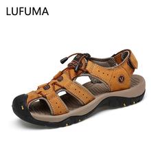 LUFUMA marka oryginalne skórzane buty męskie letnie nowe duże rozmiary męskie sandały męskie sandały modne sandały kapcie duży rozmiar 38-47 tanie tanio CN (pochodzenie) Skóra Split Pasek stawu skokowego NONE RUBBER Gumką Niska (1 cm-3 cm) Pasuje prawda na wymiar weź swój normalny rozmiar