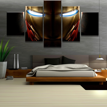 HD Print 5 Piece Canvas Art Iron Man Glowing Eyes Marvel Movie Poster Painting on Wall for Home Decoration Decor
