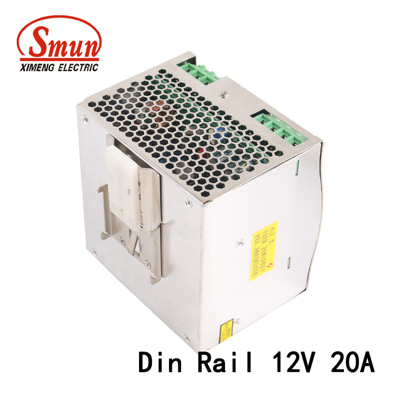 240W 12V 20A Single Output AC-DC industrial Din Rail Switching Mode Power Supply DRP-240-24 With PFC Function