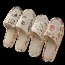 Pantoufles d'intérieur en lin pour femmes, pantoufles souples à fleurs, tongs de printemps et d'automne