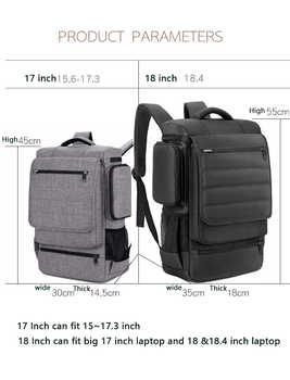 Laptop Backpack 15 15.4 15.6 17 17.3 Inch Travel School Bag zip top Design For Macbook Pro Man Woman Universal Waterproof