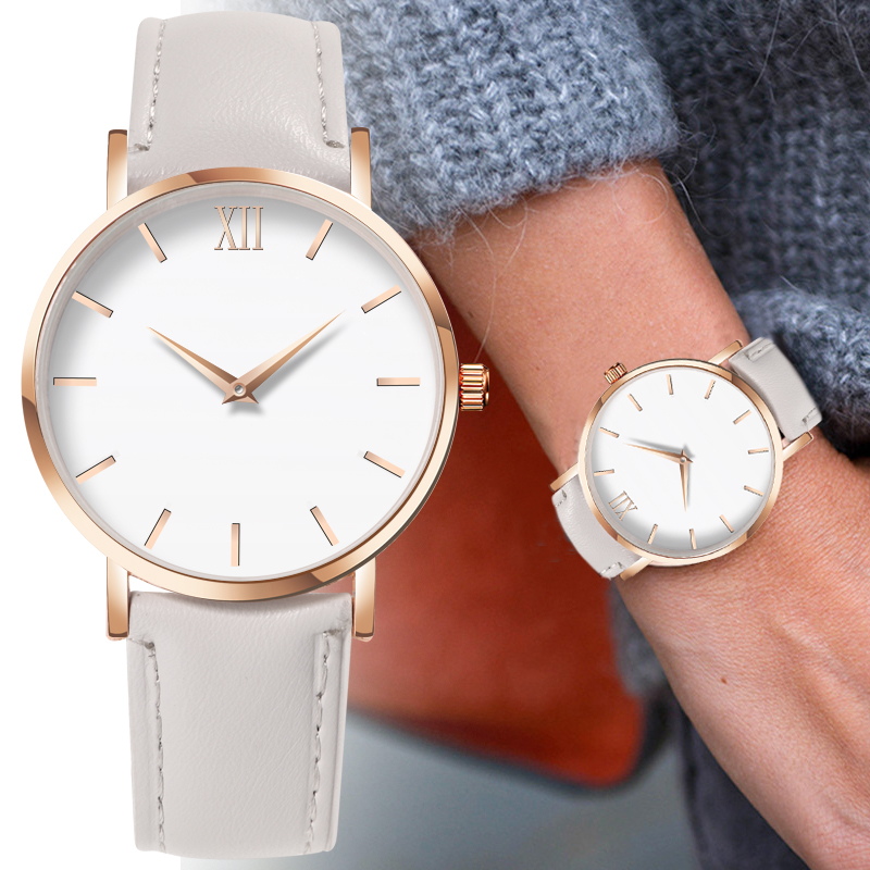 2020 Fashion Simple Ladies Watch Ladies Ladies Casual Leather Quartz Watch Female Clock Watch Simple Ladies Watch