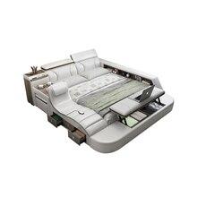 Натуральная кожа многофункциональный массаж кровать каркас современный Nordic camas ultimate кровать с хранилищем LED свет Bluetooth комод сейф