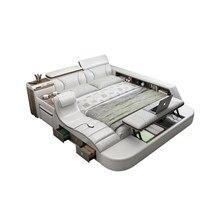 Echtes Leder multifunktionale massage bett rahmen moderne Nordic camas ultimative bett Mit lagerung LED licht Bluetooth kommode sicher