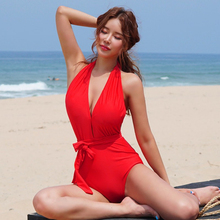 2019 Halter Backless Swimsuit Monokini Red Swimwear Women One Piece High Waist Bodysuit Solid V-neck Plunge Sexy Swim Suit Woman red plunge v neck bodysuit with drawstring