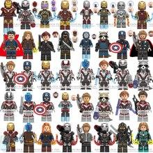 Legoed Marvel Мстители 4 endgame Капитан Америка Железный человек танос Халк строительные блоки фигурки ниндзя мотоцикл игрушки для детей
