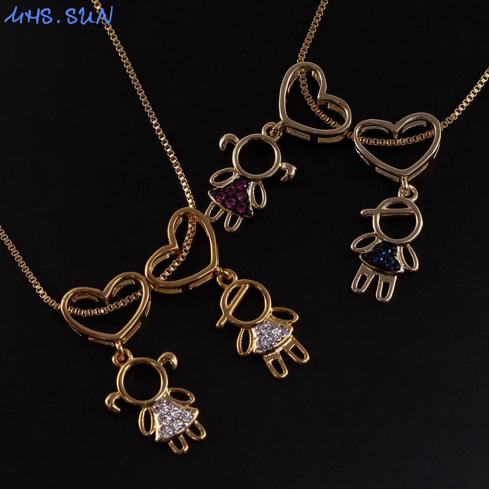MHS.SUN Luxury zircon necklace with boys girls pendant love heart chain necklace women jewerly gift for couples Valentine's day