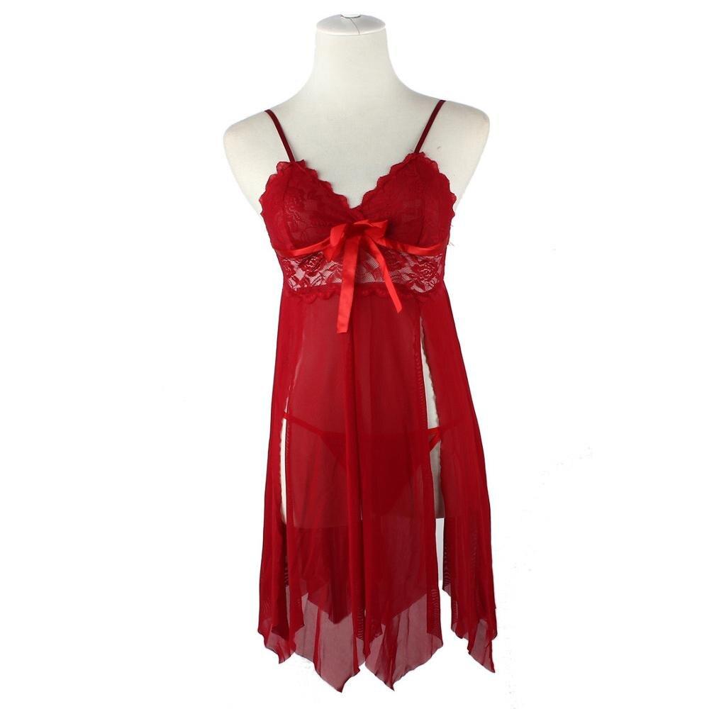 Сексуальное женское дамское милое розовое белье с лямкой на шее, кружевное белье с открытой спиной, ночная рубашка, платье+ стринги, комплект ночного белья#1026 - Цвет: Красный