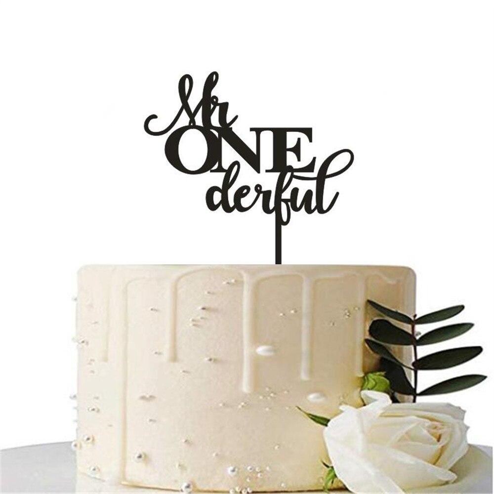 Mr eine derful Acryl Kuchen Topper Glücklich Geburtstag Party Boy Erste Geburtstag Kuchen Dekoration Mr Onederful Kuchen Topper