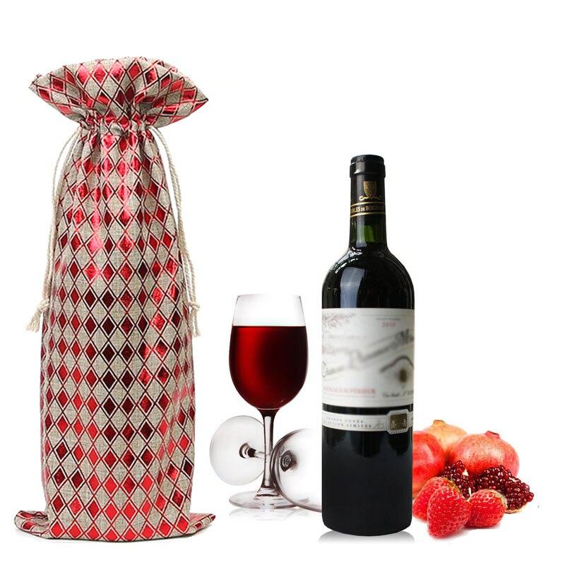 3 Piece Set Linen Hot Stamping Drawstring Bag Christmas Gift Wedding Party Decoration Bag Wine Bottle Bag