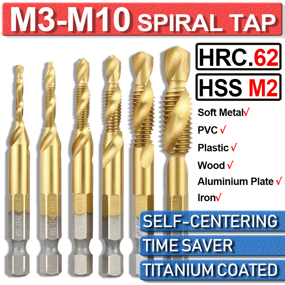 6Pcs M3-M10 Combination Drill Sprial Tap Bit Set HSS Titanium Coated 1/4'' Hex Shank Thread Cutter Metal Woodworking Tools D30