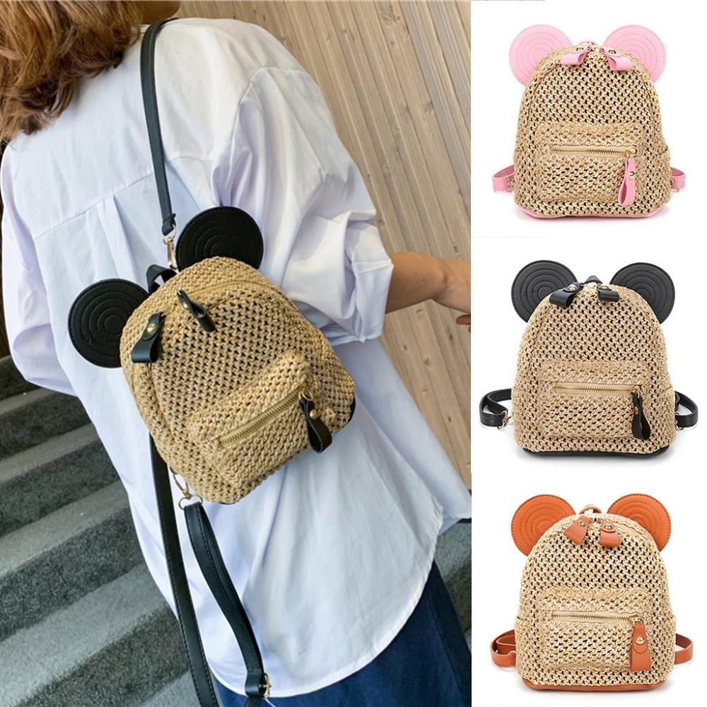 Female Backpack Patchwork Straw Woven Backpack Women Back Pack Autumn Teenage Girl Quality Backpacks Travel Bags Kawaii Rucksack