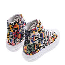 New women shoes face pattern high canvas comfortable breathable light sneakers flat bottom graffiti