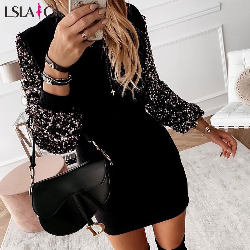 Classy Women Dress Patchwork Long Sleeve Sequins Office Lady Mini Dress Fashion Autumn Winter 2019 New