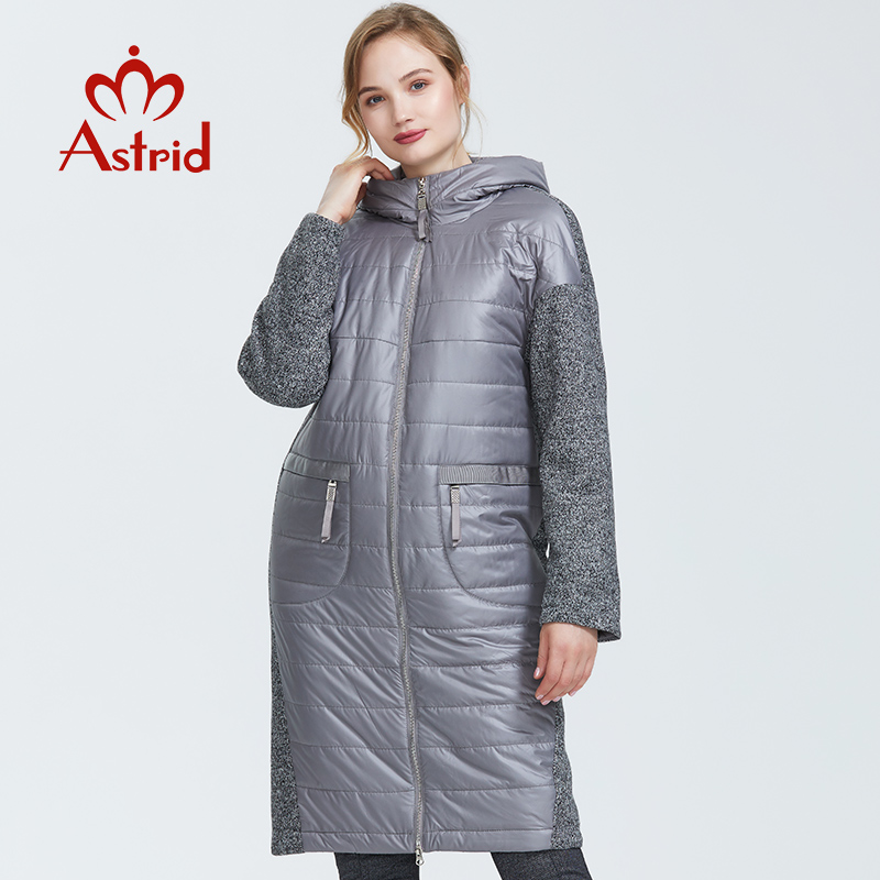 Astrid 2019 Autumn New Arrival Women Jacket Mid-length Style Park With A Hood Warm Thin Cotton Jacket Woman Clothes AM-1983