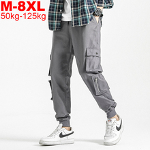 Black Joggers Pants Overalls Spring Big-Pockets Streetwear Male Men Plus-Size 5XL Ankel