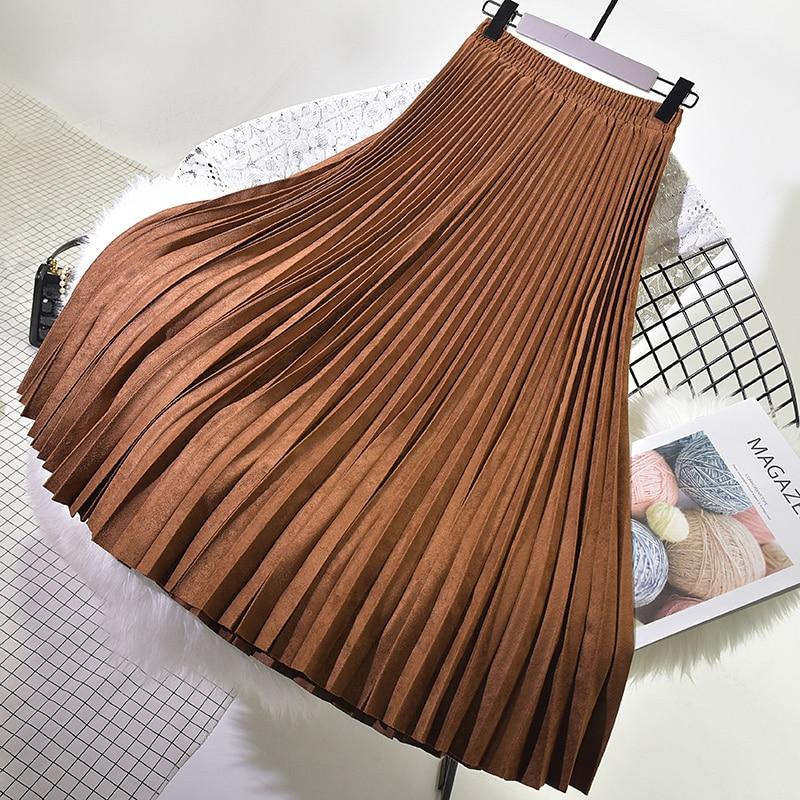 Autumn Winter Women Suede Skirt 2019 High Waist Casual Vintage Pleated Skirt Female Korean Skirt Female Elegant Long Skirts