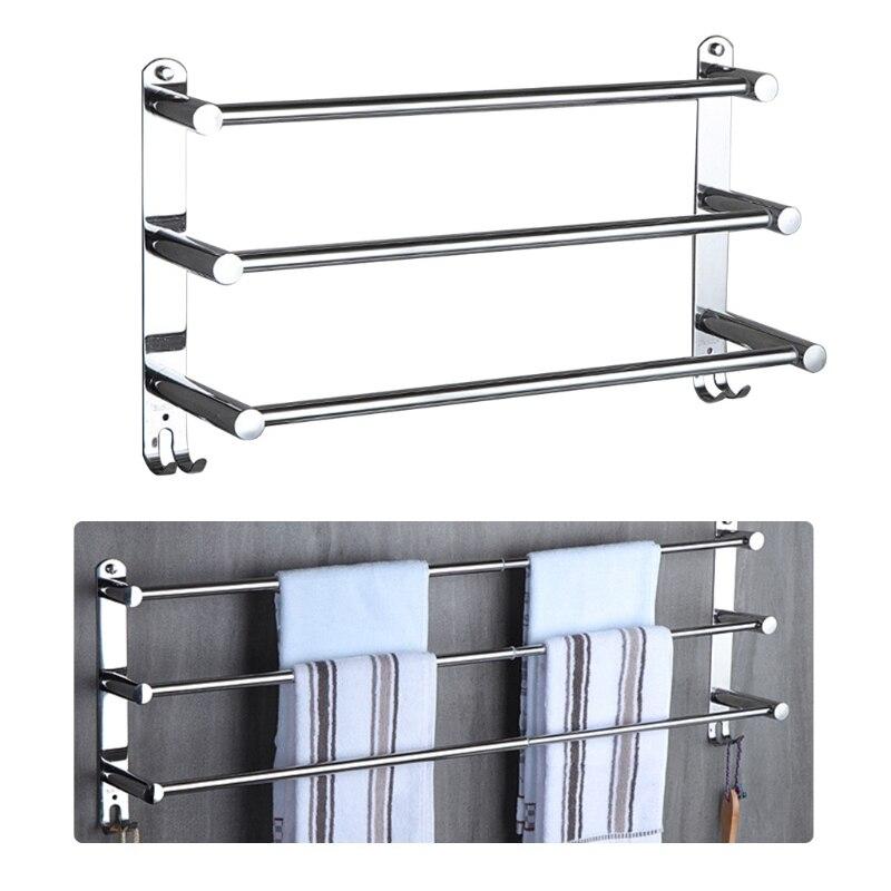 Stretchable Adjustable Stainless Steel Towel Bar 3-Tier Flexable Bathroom Rack Wall Mount Hand Towel Hanger Holder 28GF