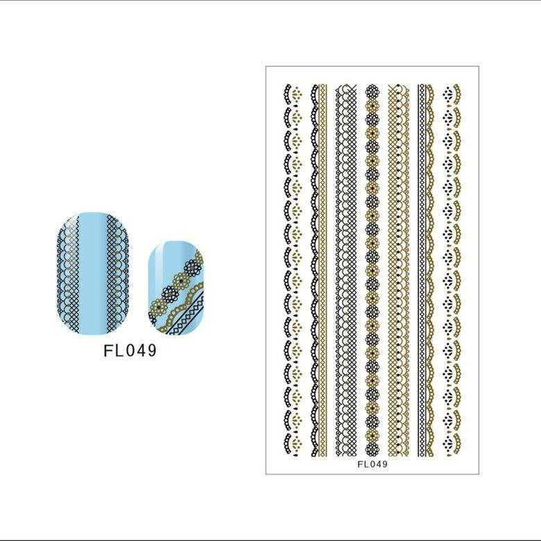 FL1-48 Black Lace Manicure Stickers Nail Sticker Manicure Applique Factory Wholesale Nail Sticker