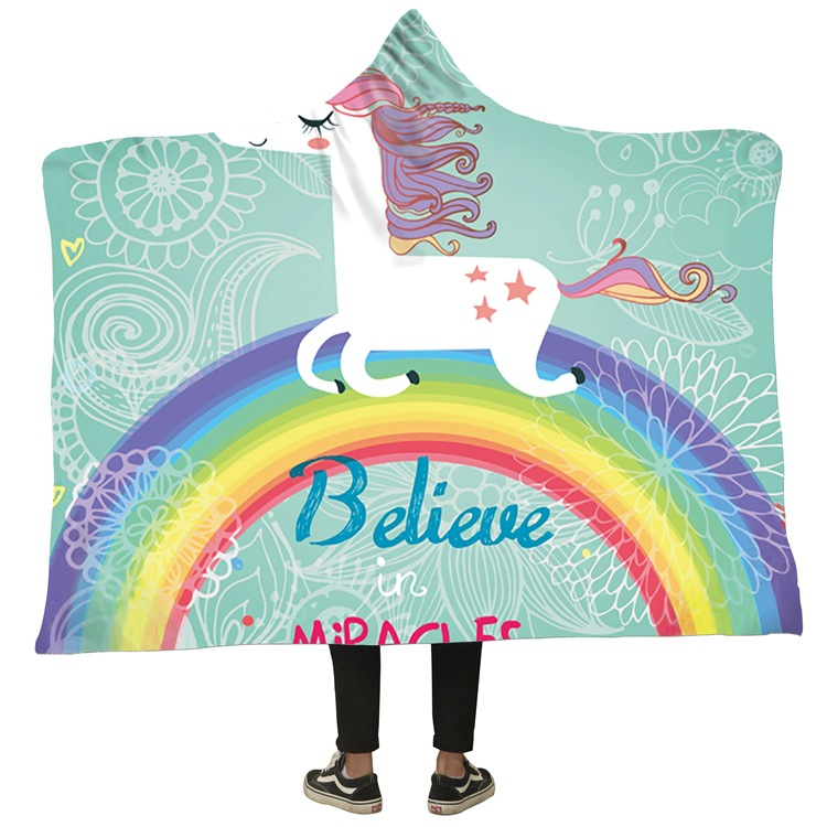 Winter Blanket Sweatshirt Unicorn Cartoon 3D Printed Plush Hooded Blanket for Adults Kid Warm Wearable Fleece Throw Blankets 4