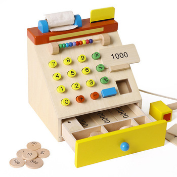 Wooden simulation supermarket cash register children's wooden cash register parent-child communication toys puzzle play house to