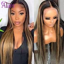13x6 peruca dianteira do laço malaio em linha reta virgem perucas de cabelo humano mel loira ombre destaque peruca preplucked peruca de renda transparente