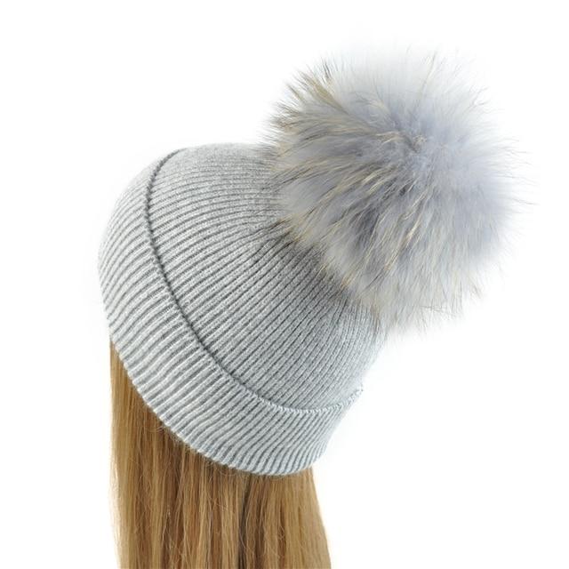 New Women's Hat Winter Beanie Knitted Hat Angora Rabbit Fur Bonnet Girl 's Hat Fall Female Cap with Fur Pom Pom Tops
