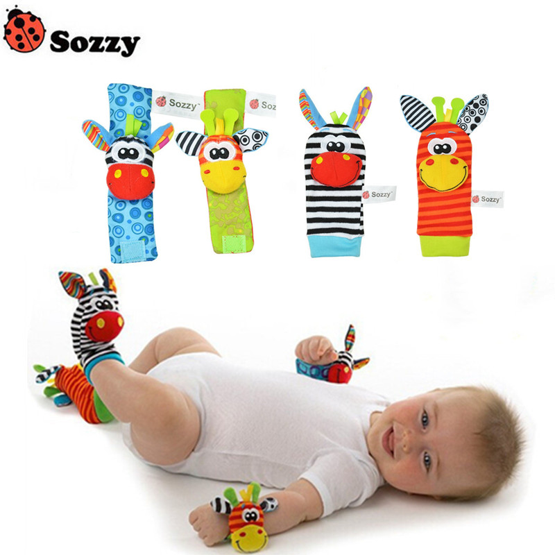 Hot Sale SOZZY Newborn Baby Rattle Rattle Toy Cute Animal Plush Socks Wristband Rattle Foot Socks Insect-proof Wristband