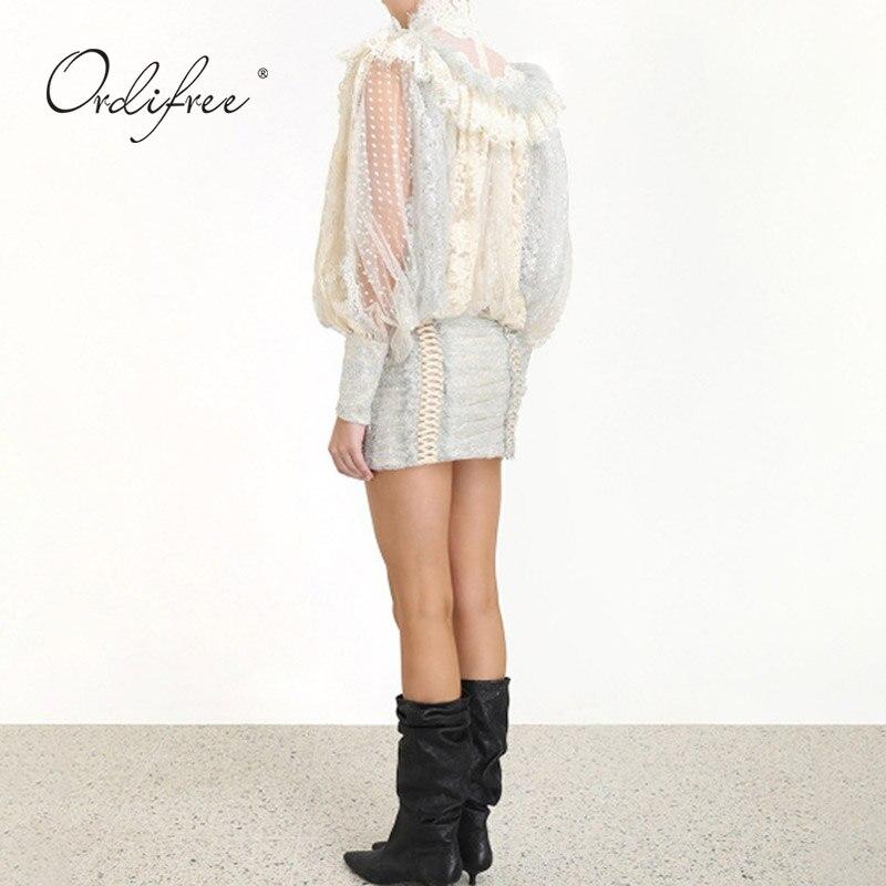 Ordifree 2020 Sommer Luxus Frauen Mini Party Kleid Langarm Polka Dot Mesh Weiß Spitze Vintage Kurzen Kleid - 4
