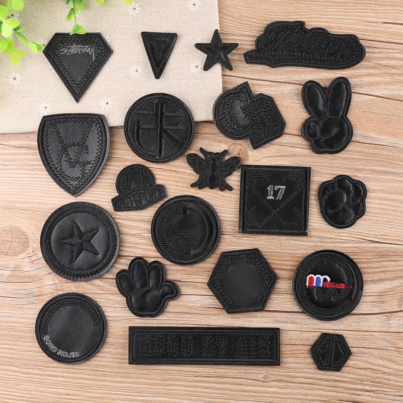 20 pçs de couro preto sim número estrela remendos bordados para roupas de ferro em roupas sapatos jaqueta apliques distintivo listra adesivo