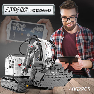 Image 4 - עובש מלך טכני לבני שלט רחוק 42100 Liebherrs חופר R9800 מנוע כוח רכב דגם ערכת אבני בניין צעצועי DIY