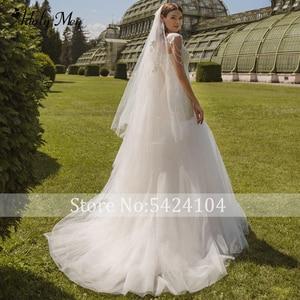 Image 3 - Romantic Scoop Neck Lace Up Mermaid Wedding Dresses 2020 Luxury Cap Sleeve Beaded Appliques Court Train Princess Wedding Gowns