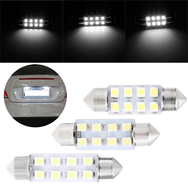 1 PC 41 Mm Lampu LED 1210 8 SMD Mobil Dome Double-Tip Atap Bohlam Lampu Baca 19QD
