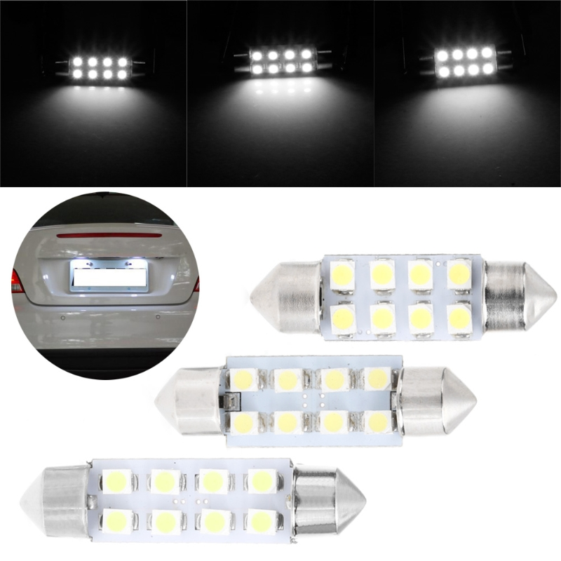 1 Pc 41mm LED Light 1210 8 SMD Car Dome Double-Tip Roof Bulb Reading Lamp 19QD