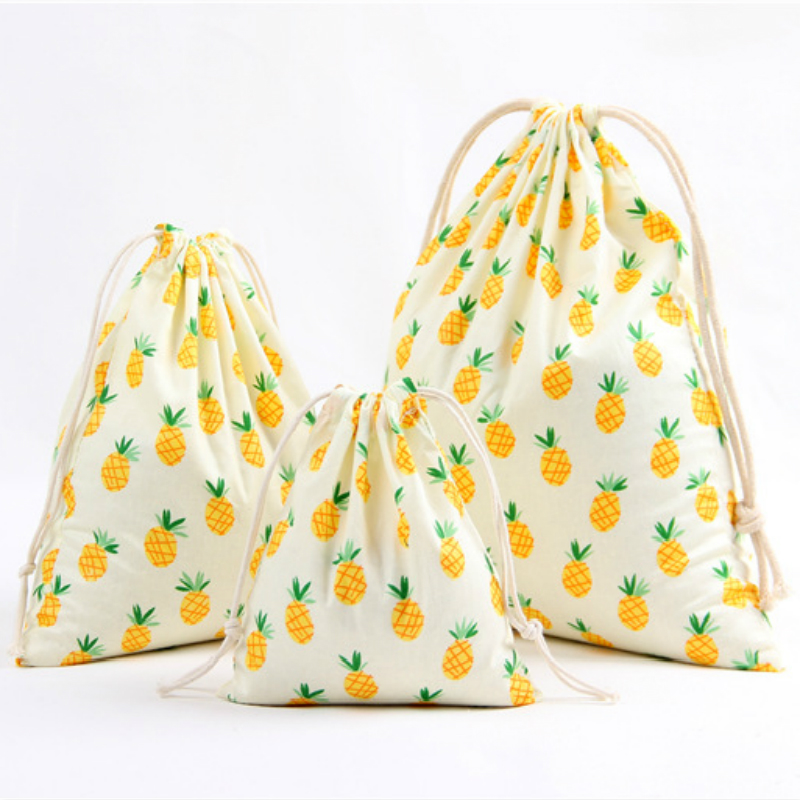 3 Size Fruit Design Printed Drawstring Bag Pocket Storage Pouch Pineapple Pattern Backpack Women Cotton Fabric Bags