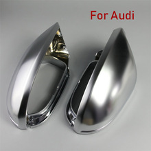 New 2pcs chrome-plated matte side mirror cover Error Free reversing mirror cover for Audi A6 S6 C7 4G 2012-2018