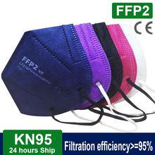 Masque facial KN95 FFP2 pour adultes, protection buccale en tissu, 5 couches, filtre la poussière