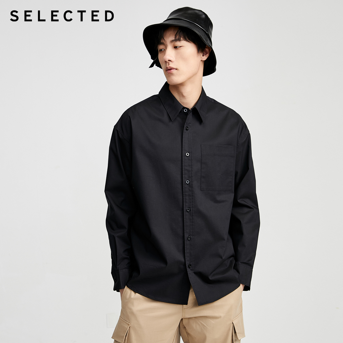 SELECTED Men's Loose Fit Retro Business Casual Long-sleeved Shirt S|420205513
